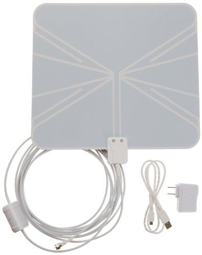 AmazonBasics Ultra-Thin Amplified Indoor HDTV Antenna - 50 Mile Range