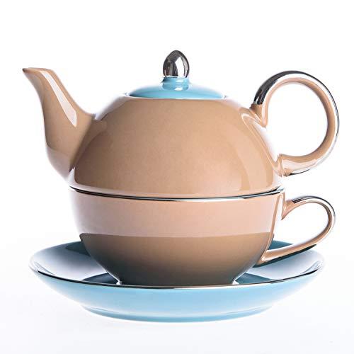 Artvigor, Tea for One Teapot And Cup Servizio da tè in Porcellana Teiera Set con Tazza e Piattino Teiere Caffettiere Ceramica 3 Pezzi per 1 Persona Marrone&Azzuro