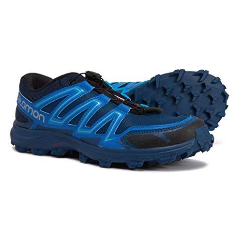Salomon Men's SPEEDTRAK Trail Runner, Black/Blue Yonder/Lava Orange, 9 M US
