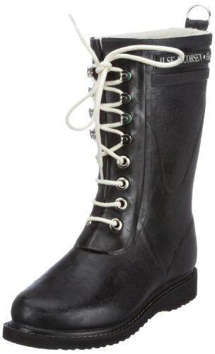 Ilse Jacobsen Damen Gummistiefel | Schuhe aus 100% Natur Bio Gummi | garantiert PVC frei | 3/4 Lange Stiefel mit Schnürsenkel aus 100% Baumwolle | RUB15 Schwarz 37 EU