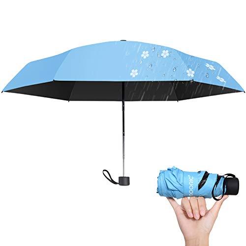 日傘 レディース 折りたたみ傘 晴雨兼用 軽量(195g) UVカット率100% 紫外線遮断 耐風撥水 収納簡単 かわいい 携帯便利 雨に濡れると桜柄が浮き出る傘 収納ポーチ付き ガールズ ブルー (ブルー)