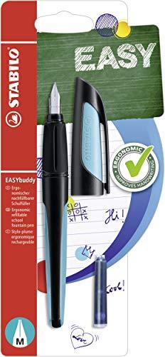 Schulfüller mit Standard-Feder M - STABILO EASYbuddy in schwarz/himmelblau - Schreibfarbe blau (löschbar) - Einzelstift - inklusive Patrone