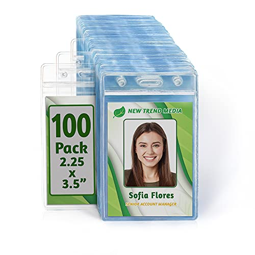 EcoEarth Vertical ID Badge Holder (Sealable 2.25x3.5 inch Premium Bulk 100 Pack) ID Holder, ID Card Holder Bulk, Name Badge Holder, Name Tag, Plastic Badge Holder, Badge Protector, Clear Card ID Tag