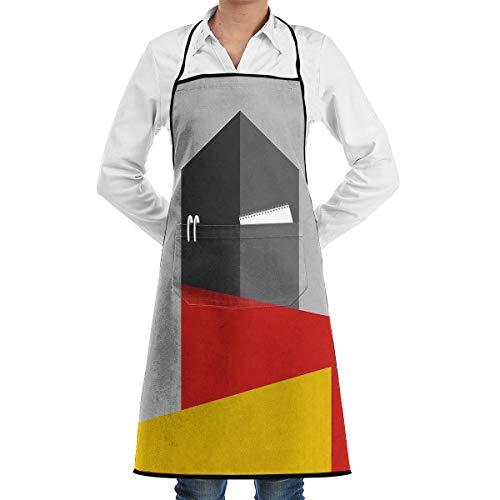 Ameok-Design Bauhaus Tower - Delantal de Cocina Unisex Ajustable con Bolsillos para Hornear, Hacer Manualidades, jardinería y Barbacoa