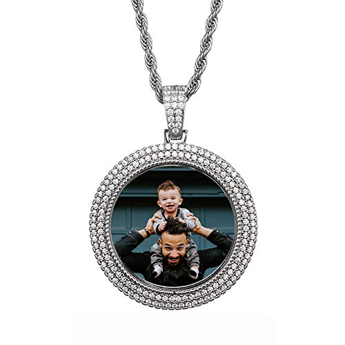 Personalized Photo Charm Necklace Fashion Hip Hop Pendant Necklace Unique Birthday Mother's Day Anniversary Jewelry Necklace for Women Men Silver Round-22'(55cm)