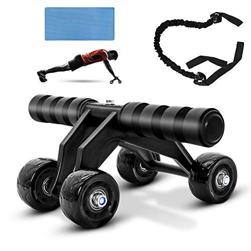 Uong AB Roller Bauchtrainer, Faltbare Bauchmuskelrad AB Wheel Bauchmuskeltrainer, mit Knieschützern Resistant Band, Muskelaufbau für Herren und Damen