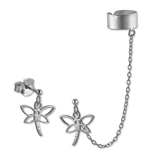 SilberDream Pendientes de botón - nivel de burbuja - doble - Helix clip de oreja - 925/1000 Plata de ley SDO8870