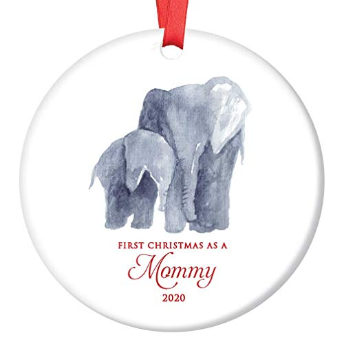 New Mommy Ornament 2020 First Christmas as a Mommy Cute Mama & Infant Elephant Baby Shower Gift 3' Flat Ceramic Holiday New Mom Seasonal Keepsake Present with Red Ribbon & Free Gift Box OR00006