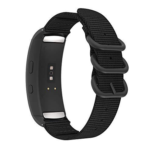 MoKo Correa Compatible con Samsung Gear Fit 2 SM-R360 / Gear Fit 2 Pro SM-R365, Pulsera Deportivo de Reloj de Nylon, con Cierre de Clip, Respirable y Reemplazable - Negro