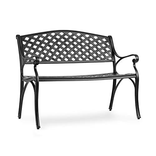 blumfeldt Pozzilli BL Gartenbank - Material: Aluminiumguss, witterungsbeständig, Platz für 2 Personen, separat erhältliches Sitzkissen