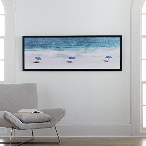 "Amazon Brand – Stone & Beam Modern Blue Umbrellas on Sand Print in Black Wood Frame, 62"" x 22"""