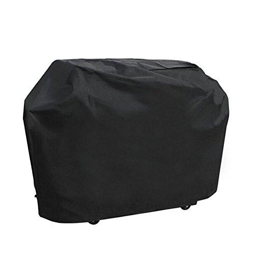 Housse de Barbecue Couverture de Gril Gaz KHDZ Grill Housse de BBQ Protection Noir Oxford 100% Étanche Coupe-Vent avec Cordon de Serrage pour Montage au Sol (L, 145 * 61 * 117 cm)