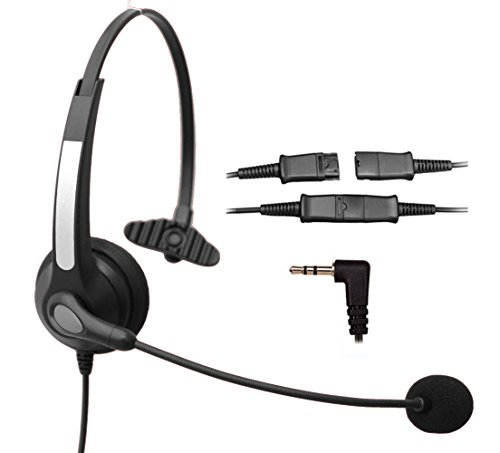 Voistek Corded Call Center Telephone Headset Noise Cancelling Headphone with Flexible Microphone for Cisco Linksys Polycom Panasonic Office Deskphone DECT Cordless and Cell Phones with 2.5mm Headset Jack (Mono QD S10NP25)