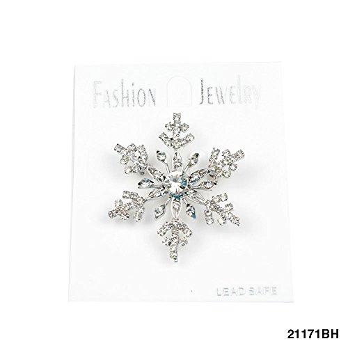 WL Fashion Silberfarbene Brosche Schneeflocke mit Funkelnden Strasssteinen 070-00197
