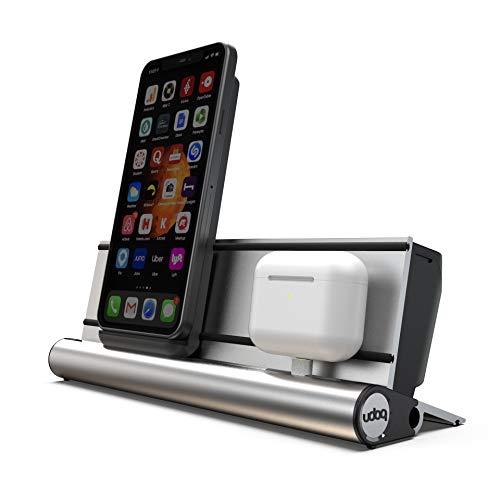 udoq 250 Ladestation für iPhone und AirPods, hochwertiges Design 4mm Aluminium, Wireless Charger und Lightning Kabel, Silber