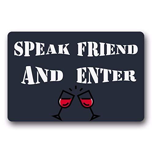 N/A Alfombrilla De Entrada Resbalón para Hablar Amigo Y Entrar Alfombrilla para Puerta De Vino Alfombrilla De Goma para Interiores Y Exteriores Parte Superior De Tela Tejida