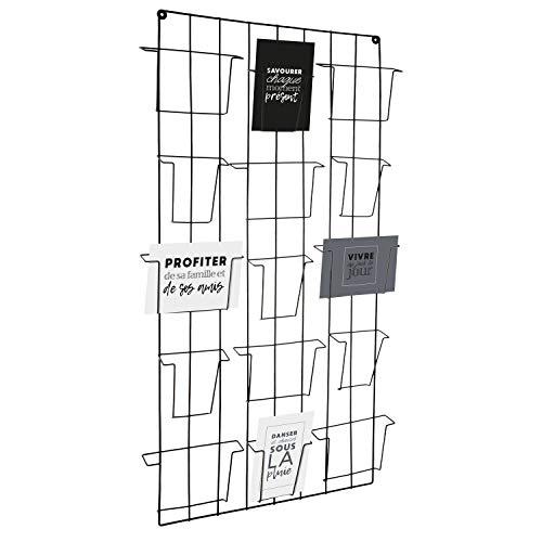 Atmosphera - Présentoir Mural Porte Photos ou Cartes en métal Noir 15 emplacements
