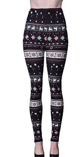 VIV Collection Regular Size Printed Brushed Ultra Soft Christmas Leggings (Reindeer Snow)
