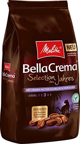 Melitta Ganze Kaffeebohnen, 100% Arabica, kräftig mit Noten dunkler Schokolade, Stärke 3, BellaCrema Selection des Jahres 2020, 1kg