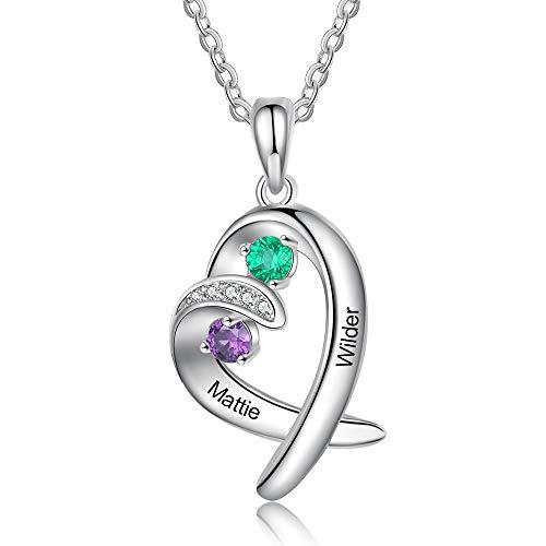 Jewelora Collar de corazón personalizado para mujer collar de pareja hermana 2 nombres colgante de plata 925 con piedras de nacimiento regalo de joyería para madre esposa hermana mejores amigos
