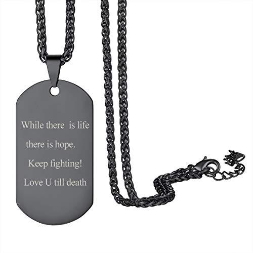 Chapa Rectangular Collar Negro Hipoalergénico para Soldados Militares Colgante Personalizado con Informaciones Personales Joyería de Identidad