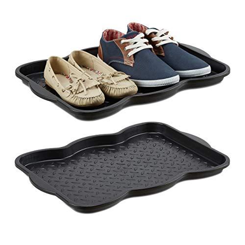 Relaxdays 2X Schuhabtropfschale klein, Kunststoff Schuhablage für 4 Schuhe, Profil Schmutzfang, HxBxT: 3 x 50 x 38 cm, schwarz