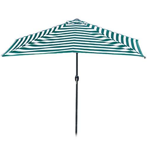 HH- Sombrillas Medio Paraguas de Rayas Verdes de 2,5 M, Living Garden Patio Balcony Half Round 250cm Parasol de Aluminio Sombrilla Semirredonda