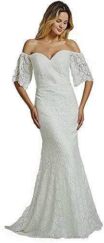 Meganbridal Women's Sweetheart Lace Bohemian Bridal Gown Off Shoulder Formal Wedding Dresses for Bride White
