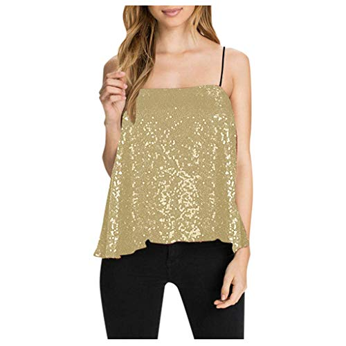 Weiliru Sequin Camisoles Womens Sleeveless Sparkle V Neck Spaghetti Strap Flowy Tank Glitter Shining Party Vest Tops