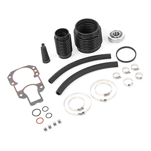 Akozon Kit de reparación de sello de popa de popa 30-803097T1 Acero inoxidable y caucho con fuelles de escape Kit de junta y sello de caja de engranajes