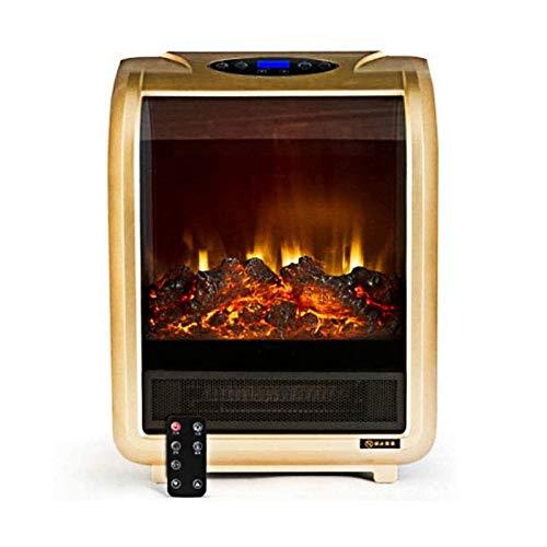 DGYAXIN Chimenea Moderna de pie, Estufa eléctrica portátil, Chimenea de calefacción, Control de termostato Ajustable, Efecto de Llama Realista, para el hogar, la Oficina,Oro