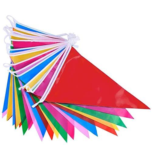 DoGeek Wimpelkette Fahnen Girlande Schöne Wimpel mit 100 Stück Farbenfroh Wimpeln ideal für Geburtstagsparty, Feiern (38M) 1 pc