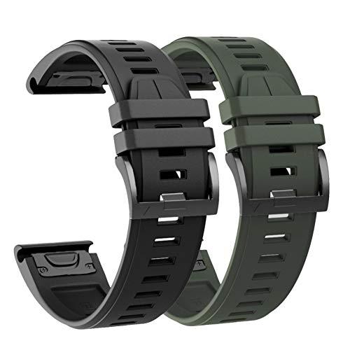 Ahayo 2PCS Silicone Watch Strap for Garmin Fenix 6 Pro/Sapphire, Quick Fit 22mm Non-allergenic Soft Waterproof Wrist Band Strap for Fenix 5/5 Plus,Instinct,Forerunner 935/945 (Black Green)
