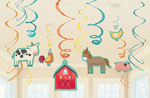 Amscan 672172 12 Deko-Spiralen Barnyard Birthday, Mehrfarbig, Swirls 7