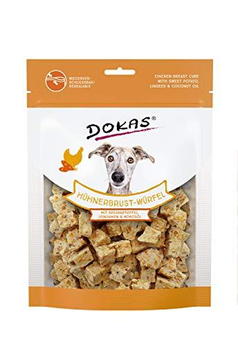 DOKAS Hühnerbrust-Würfel – Premium Superfood-Snack für Hunde aus Hühnerbrust – Mit Süßkartoffel, Leinsamen & Kokosöl – 1 x 150 g