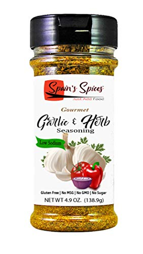 Spain's Spices Gourmet Garlic & Herb Seasoning - Low Sodium, Gluten Free, Sugar Free, No MSG, No GMO, No Preservatives - Garlic and Balance Blend of Herbs Use Daily for Preparing All Foods (5.6 oz)