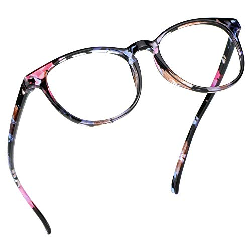 LifeArt Blue Light Blocking Glasses, Anti Eyestrain, Computer Reading Glasses, Gaming Glasses, TV Glasses for Women, Anti Glare (Pink Floral, +2.50 Magnification)