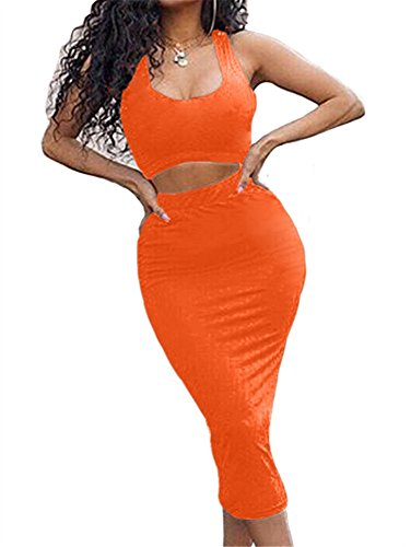 GOBLES Women's Sexy Summer Outfits Bodycon Tank Top Midi Skirt 2 Piece Dress Orange