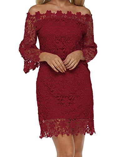 Auxo Damen Schulterfreie Langarm Kleider mit Spitze Elegant Blumen Kurz Abend Etuikleid Weinrot EU 42/Etikettgröße XL
