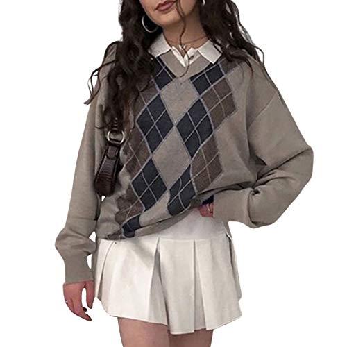 Young Forever Argyle Plaid Y2k Pullover Damen Sweater mit V-Ausschnitt Vintage Strickpullover 90er Harajuku Strickwaren Herbst Winter (Braun, M)