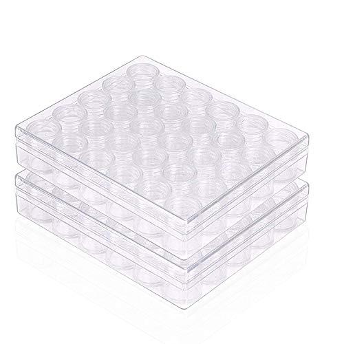 Kurtzy Organizer Plastica Trasparente Perline (2 Pack) - Vasetto Contenitore Plastica Archiviazione Divisori Rimovibili, Coperchi Perline, Nail Art, Glitter, Make Up, Archiviazione Perline