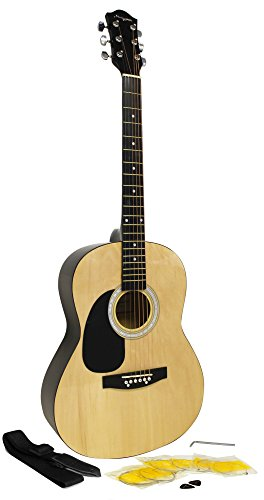 Martin Smith W-100-N-LH-PK El paquete guitarra acústica para zurdos con cuerdas, púas, correa - Natural