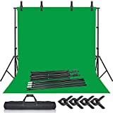 Selens Green Screen Backdrop Stand Kit, 6.5 x 10ft Photography Background Support System with 6.5 x 10ft Cotton Muslin Chromakey Backdrop, Photo Studio Clamps Clips