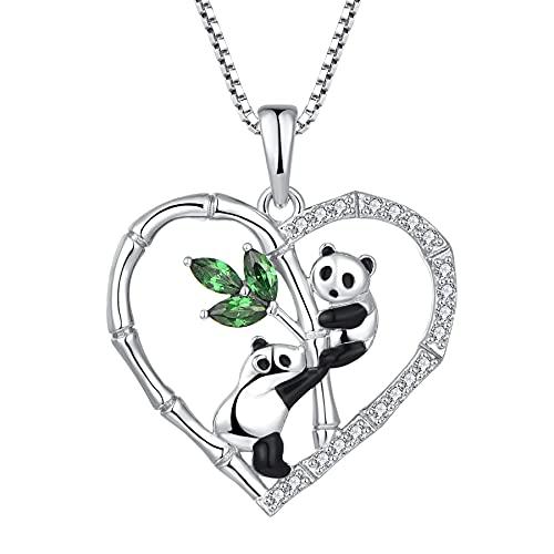 Starchenie Colgante de Dos Pandas para Bebés Plata de ley 925 Circonita Cúbica Lindo Panda Collar de Bambú para Escalar Joyería de Animales Regalos para Mujeres y Niñas