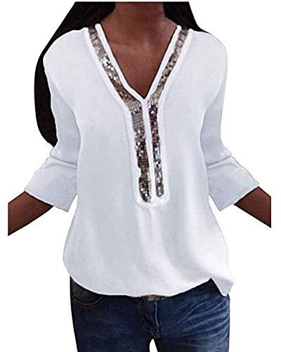 ASKSA Damen Chiffon Bluse Langarm Pailletten V-Ausschnitt Freizeit Oversized Blusenshirt Langarmshirt Oberteile Tops (Weiß, XL)