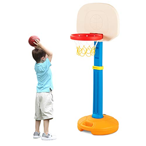 COSTWAY Basketballständer Kinder, Basketballkorb mit Ständer, Basketballanlage höhenverstellbarer von 120 bis 160 cm, Korbanlage mit Griff, geeignet für Innen- und Außenbereiche