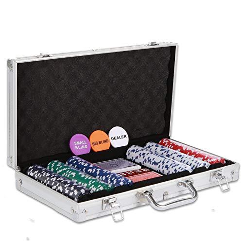 NOLIE Casino Poker Chip Set 300 PCS with Reinforced Aluminum Case for Gambling(11.5 Gram)