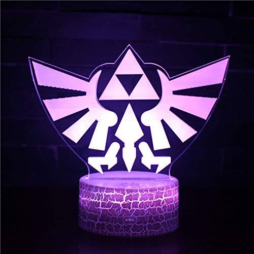 3D led Star Wars Night Light La leyenda de Zelda 16 color cambiante cargador USB alimentado interruptor táctil escritorio noche luz para niños amigos regalo