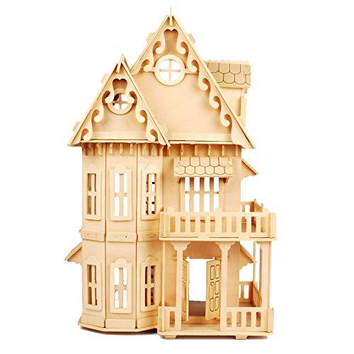 "NWFashion Children's 17"" Wooden 6 Rooms DIY Kits Assemble Miniature Doll House 3D Puzzle (Gothic)"