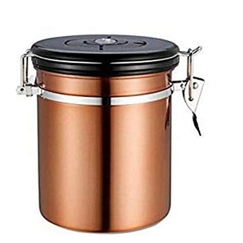 Yiyu Luftdichter Kaffeebehälter 500G Edelstahl Numerical Tracker Kaffeebohnenbehälter Perfekt Für Tee Kaffeebohnen x (Color : Brown)